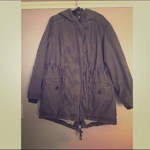 H&M plus size green utility coat